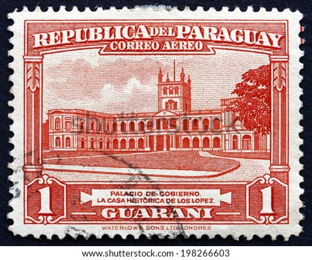 PARAGUAY - CIRCA 1946: a stamp printed in Paraguay shows Government House, Palace of the Lopez, Asuncion, circa 1946