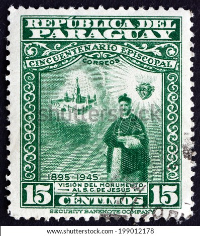 PARAGUAY - CIRCA 1948: a stamp printed in Paraguay shows Vision of Projected Monument, circa 1948 - stock photo
