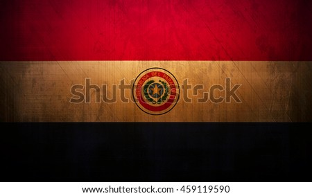 Paraguay country flag with dark grunge wall texture background. - stock photo