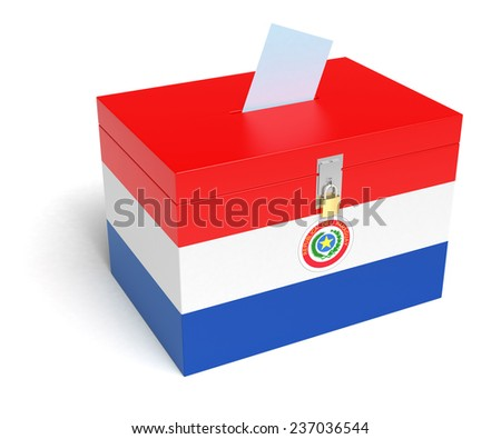 Paraguay Flag Ballot Box. Isolated white background. 3D Rendering. - stock photo