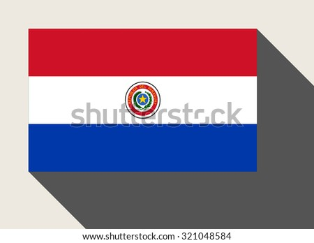 Paraguay flag in flat web design style. - stock photo