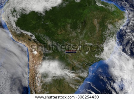 Paraguay flag on pole on earth globe illustration - Elements of this image furnished by NASA - stock photo
