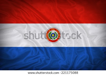 Paraguay flag pattern on the fabric texture ,vintage style - stock photo