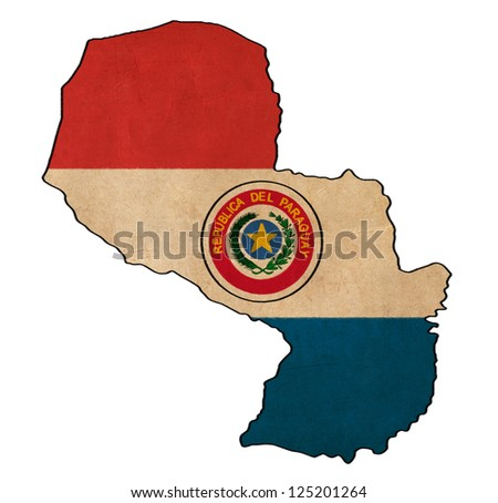Paraguay map on paraguay flag drawing grunge and retro flag series
