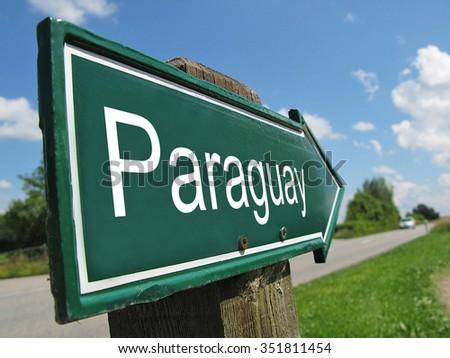 Paraguay signpost along a rural road - stock photo
