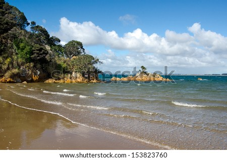 Parakerake bay a famous travel destination in northland New Zealand. - stock photo