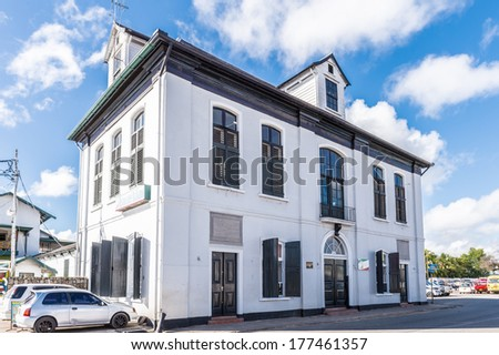 PARAMARIBO, SURINAME - NOV 7, 2013: Building of the Waterkant street of Paramaribo, Suriname. The historic inner city of Paramaribo is a UNESCO World Heritage Site since 2002.