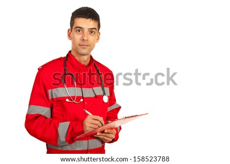 Paramedic man taking notes and standing in semi profile isolated on white background - stock photo