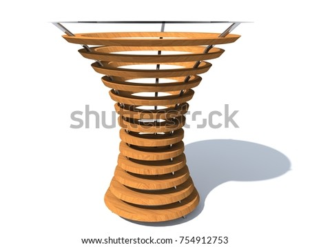 Parametric Coffee Table Wood Furniture 3D Rendering Futuristic Of The Future