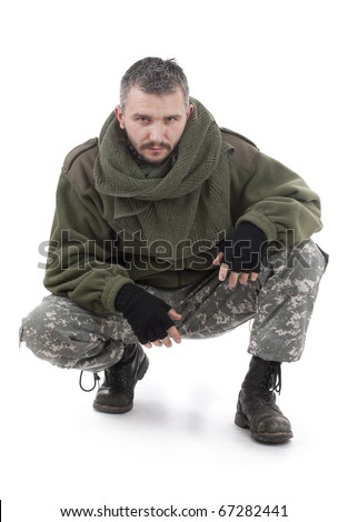 Paramilitary soldier isolated in white background - stock photo