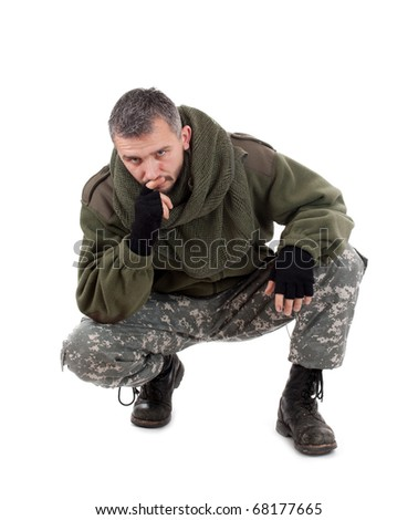 Paramilitary soldier thinking, isolated in white background - stock photo