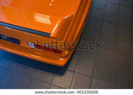 Paramus,NJ - April 7 2016: At a free local car show, the rear end of a classic BMW M3 Coupe. - stock photo