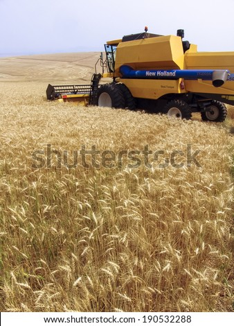 PARANA, BRAZIL, SEPTEMBER 20, 2007.  Combine harvester on a wheat field