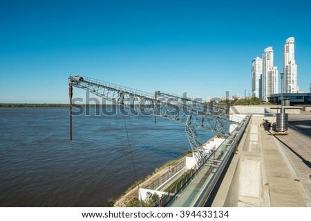 Parana river harbor in Rosario, Argentina - stock photo