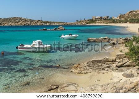 Paranga Beach on the island of Mykonos, Cyclades, Greece - stock photo