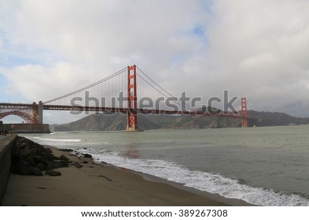Paranomic View of San Francisco Bay and Golden Gate Bridge, a suspension bridge spanning the Golden Gate strait and one of the most internationally recognized symbols of San Francisco. - stock photo
