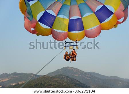parasailing - stock photo