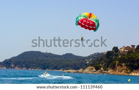parasailing and boat - stock photo