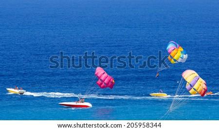 Parasailing at Alanya beach, Antalya Turkey  - stock photo