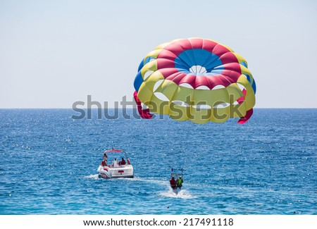 Parasailing on the mediterranean Sea  - stock photo