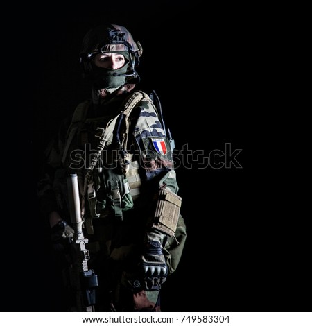 Paratrooper of french 1st Marine Infantry Parachute Regiment RPIMA studio shot