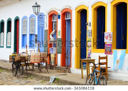 PARATY, BRAZIL - OCTOBER 14, 2014: Restaurant in the Old Town of Paraty (state of Rio de Janeiro). The colonial town dates back to 1667 and is considered for inclusion on UNESCO World Heritage List. - stock photo