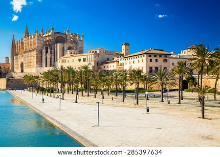 Parc del Mar near the Cathedral of Santa Maria of Palma, Majorca, Spain - stock photo