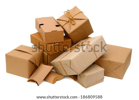 Parcel and Cardboard boxes isolated over white background  - stock photo