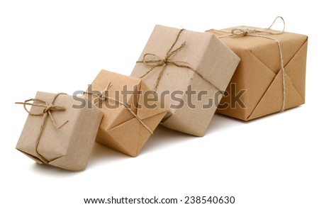 Parcel boxes in row - stock photo