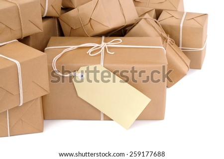 Parcel : Brown package with label, isolated - stock photo