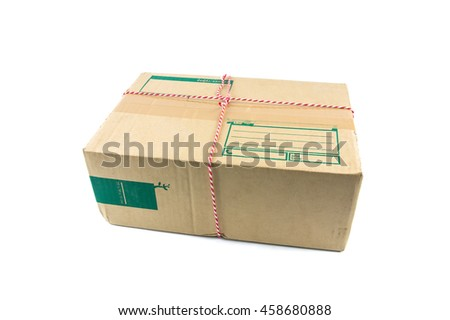 Parcel corrugated carton on a white background. - stock photo