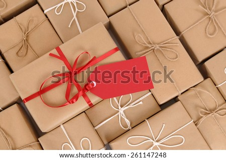 Parcel heap, label, red gift tag - stock photo