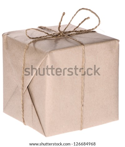 Parcel isolated on white background - stock photo