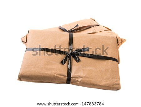 parcel isolated on white background