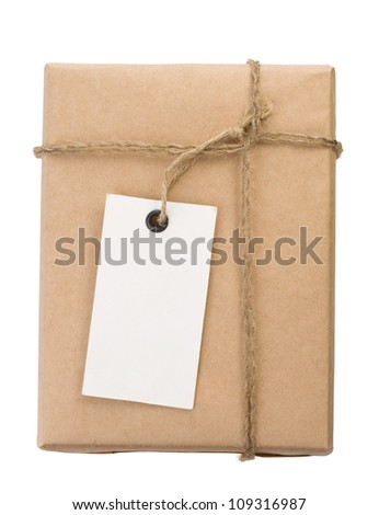 parcel wrapped packaged box isolated on white background