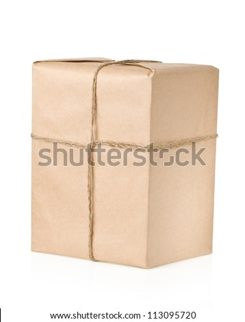 parcel wrapped with brown paper tied rope isolated on white background - stock photo