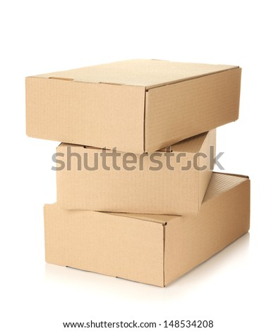 Parcels boxes, isolated on white - stock photo