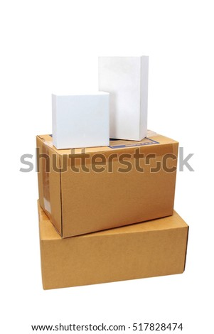 parcels boxes isolated white background