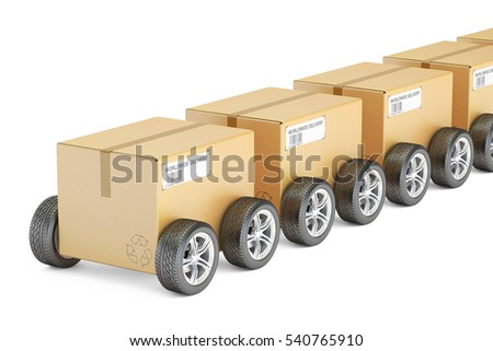 Parcels with wheels, fast delivery concept. 3D rendering isolated on white background