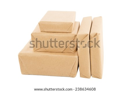 Parcels wrapped in brown paper - stock photo