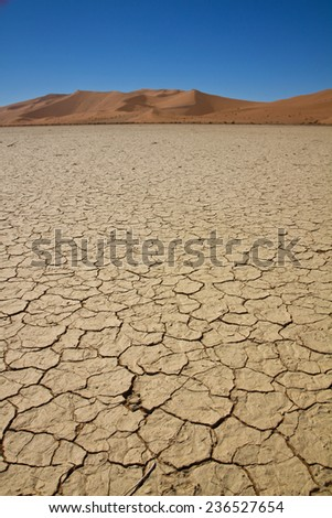 Parched earth, part of the Namib Desert, Sossusvlei, Namibia