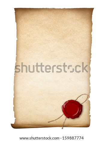 parchment or old paper with wax seal isolated - stock photo