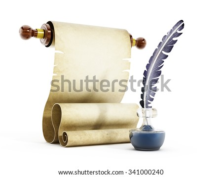 Parchment, quill and ink isolated on white background - stock photo
