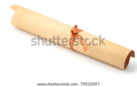 Parchment roll. It is isolated on a white background