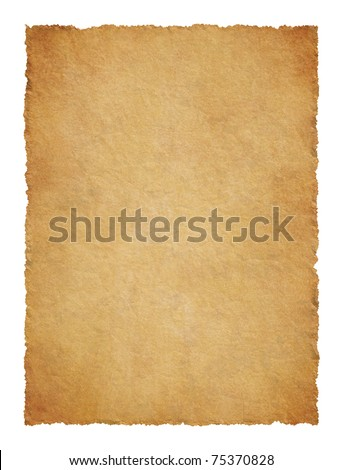 Parchment with ragged edges. Detailed old page papers. It is isolated on a white background