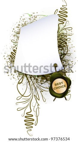 Parchment with the seal on plant background - stock photo