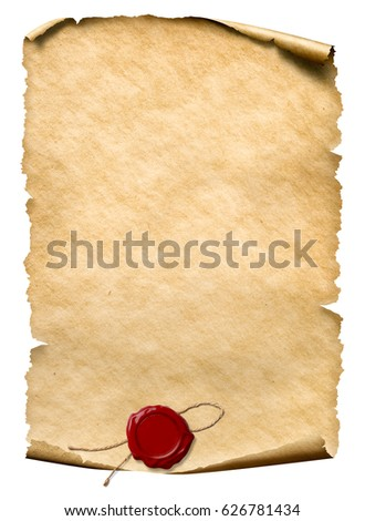 parchment with wax seal isolated on white 3d illustration