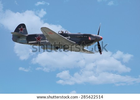PARDUBICE, CZECH REPUBLIC - 6 June 2015:Yakovlev Yak-3 aircraft in aviation fair and century air combats, Pardubice, Czech Republic on 6 June 2015 - stock photo