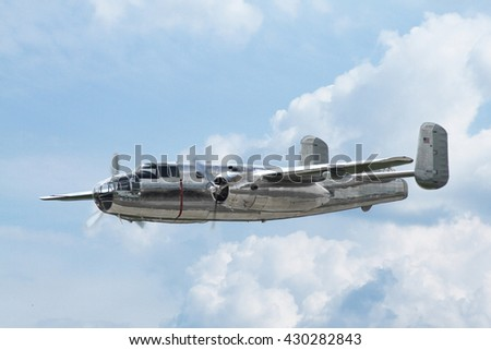PARDUBICE, CZECH REPUBLIC - 29 May 2016: Aircraft B-25 Mitchell in aviation fair and century air combats, Pardubice, Czech Republic on 29 May 2016