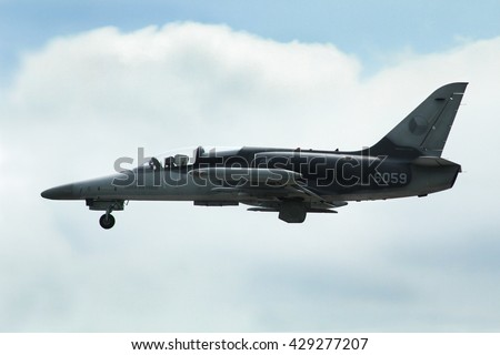 PARDUBICE, CZECH REPUBLIC - 29 May 2016: Aircraft  L 159 Alca aircraf in aviation fair and century air combats, Pardubice, Czech Republic on 29 May 2016